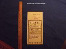 1957 Ticket Stub Colonial Williamsburg Admission Adult VA Virginia $3.00 Map on