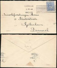 GB DENMARK 1909 CONSULATE EMBOSSED ENVELOPE + DGK PERFIN on KE7 2 1/2d
