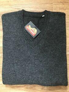 100% Lambs Wool Fine Knit Sweater Jumper Golf V Neck Crew Neck Grey Navy Black
