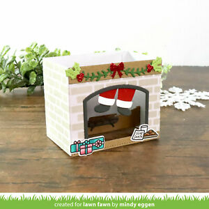 Lawn Fawn thin metal dies - SHADOW BOX CARD FIREPLACE ADD-ON, Made in USA
