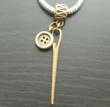Bronze Sewing Needle Button Dangle Bead Fits European Bracelet Or Clip On Charm