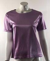 Blair Womens Top Size Small Lilac Purple Metallic Short Sleeve Shirt