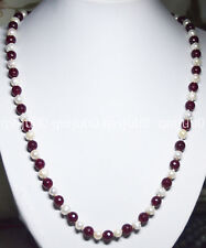 24inches Natural 7-8MM White Cultivation Pearl Faceted Garnet Necklaces JN741