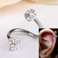 Crystal Stainless Steel Twist Ear Helix Cartilage Body Piercing Earring Stud JT