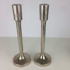 2 Metal Candle Holders for Taper Candles 11.875-inches Tall Rough Silver Tone