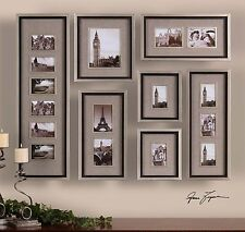 LARGE SET OF QUALITY PICTURE PHOTO WALL FRAMES COLLAGE ART AGED SILVER LEAF