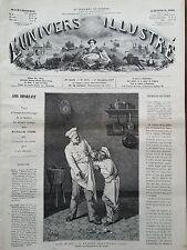 """L'UNIVERS ILLUSTRE 1877 N 1184 """" LE MALADROIT""""  tableau de M. ACHILLE VAILLANT"""