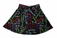Women's Unique Maths Formulas Blackboard School Print Skater Skirt Size 8-22