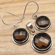 Perfect Gift ! 925 Silver Plated Brown SMOKY QUARTZ Gems Earrings & Pendant SET