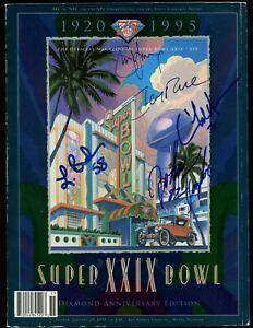 1995 NFL Super Bowl 29 Program Autographed 5 Signatures JSA LOA