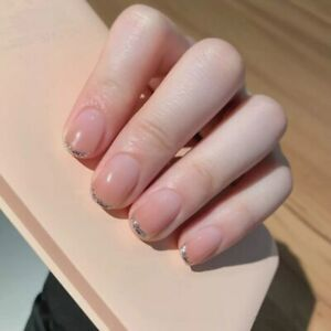 Nude Gradient Glitter Fake Nail Tips French Full Artificial False Press On Nails