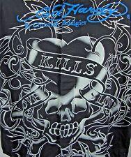 Ed Hardy Christian Audigier Love Kills Slowly Button Front Jeweled Shirt XXL