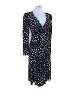 Jump S Black & White Polka Dot L/S Fit N Flare Cinched Bust V Neck Midi Dress