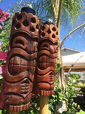 Hang Loose Flame Head Tiki torch set bar mug Smokin Tikis Hawaii Seconds 25