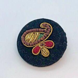 Fabric Button - Paisley Design, Gold Zardozi Embroidery Work, Wood Beads