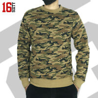 New Mens Camo  Pullover Sweatshirt Plain Casual Long Sleeve Crew Neck Sport Top