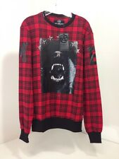 MY BRAND MEN'S DOG STARS SWEATER RED/BLACK PLAID LARGE NWT $156
