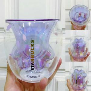 Hot Limited Edition Starbucks Sakura Cup Coffee Glass Mug Purple Sakura With Lid