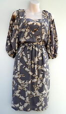 KATHERINE Silk Abstract Print Dress Open 3/4 Sleeve NWT Rrp $219 Size 8