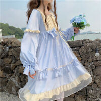 Lady Japanese Lolita Dress Mesh Cosplay Costume Kawaii Ruffle Puff Sleeves Retro