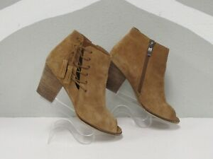 Franco Sarto Women's Brown Suede Heeled Ankle Peep Toe Booties size 7.5