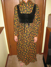 Vintage 70s Quilted Full Length Dress Velveteen Bodice Mod Hippie Style Sz Small