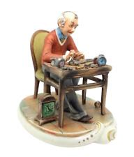 "Capodimonte Figurine Milio Italian Porcelain Watchmaker Horologist 8"" 20cm"