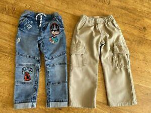 2X Boys Jeans Bundle Age 3-4 Timberland & Tu - Beige Blue elasticated waist play