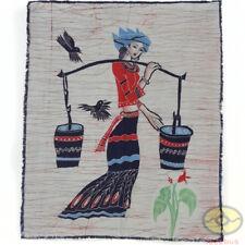 Chinese Art Decor Wall Hanging Batik Tapestry - Carry Water Girl of Dai Minority