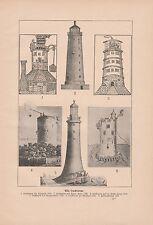 Leuchttürme Leuchturm Eddystone Neufahrwasser Spurn-Point DRUCK von 1911