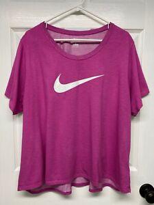"Nike DRI-FIT #AR3096 Women's Plus S/S ""The Nike Tee"" T-Shirt Top: 3X, Pink, Logo"