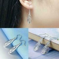 Frauen Einfache Schmuck Mode Silber Hohl Geschnitzte Ohrringe Wassertropfen C9L