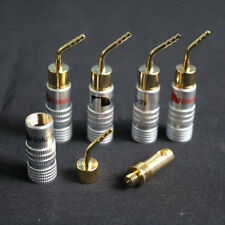 8X 24k Gold-plate Speaker Wire Nakamichi Pin Connectors Banana Plug Brass