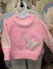 "New Hand Knitted Baby Girls White Jumper Butterfly Motif 6-12 Months 20"" Chest"