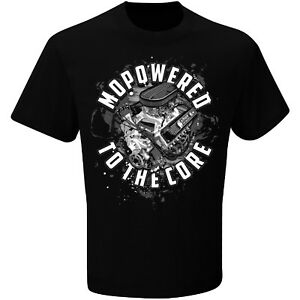MOPOWERED TO THE CORE Checkered Flag Sports Mopar Black Tee Adult XL T-Shirt