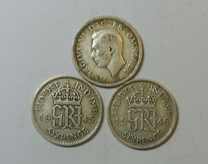 GREAT BRITAIN : SILVER SIXPENCE x 3. 1944, 1945 & 1946. 0.500 SILVER.