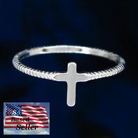 Simple Cross Ring in SOLID 925 STERLING SILVER - 4 sizes - NEW!