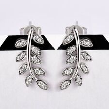 Shape Chic Stud Earrings For Women Stunning White Cubic Zirconia Gemstone Leaf