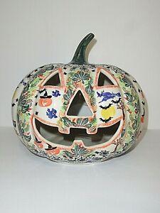 Polish Pottery Unikat Ceramic Halloween Jack-O-Lantern Pumpkin