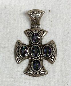 Sajen Sterling Silver Tourmaline? Maltese Cross Pendant