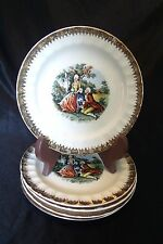 """SET of 5 - VINTAGE Cronin China COURTING COUPLE Bread PLATES - 6 1/4"""""""