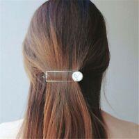 Chic Retro Girls Metal Circle Square Hair Clips Natural Stone Hairpins