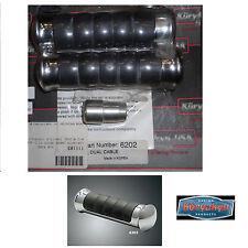 Manopole Kuryakyn Sabre antivibrazione metallo cromato gomma Harley accell. cavo
