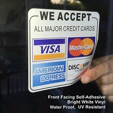 4 WE ACCEPT CREDIT CARDS - Visa, MasterCard, Amex, Discove - Vinyl Sticker Decal