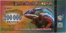 LA SAVANNA BILLETE CONMEMORATIVO DE 200.000 FRANCOS  (CAMALEON) SC 2016