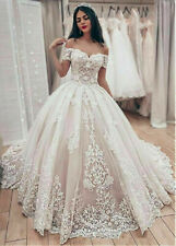 White Ivory Elegant Wedding Dresses Off the Shoulder Lace Applique Ball Gown New