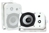"2 PYLE PDWR40W 5.25"" 2-Way White Indoor Outdoor Waterproof Home Theater Speakers"