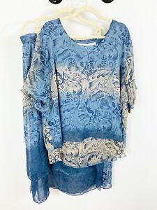 NEW Jo Joan Blouse Skirt Set Plus Size 2X Short Sleeves Blue Elastic Waist