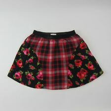 The Children's Place Girls Skirt Red Plaid Floral Size 7/8