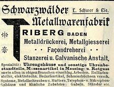 L. Schwer & Cie. Rieberg SCHWARZWÄLDER METALLFABRIK Historische Reklame von 1908